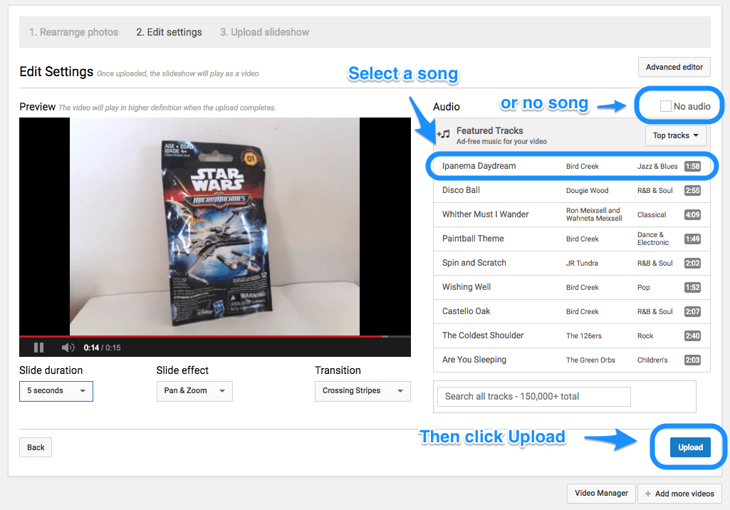 Create a slideshow of your Google Photos with Youtube